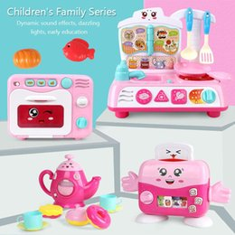 Toys music house online shopping - New Simulation Mini Children Kitchen Electrical Toy Girl Pretend Play House Toy With Light Music Bread Machine Microwave OvenToy