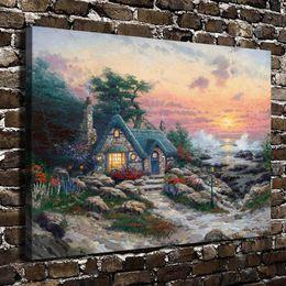 $enCountryForm.capitalKeyWord Australia - Cottage By The Sea Scenery,Home Decor HD Printed Modern Art Painting on Canvas (Unframed Framed)