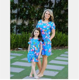 girl skirt mother NZ - Hot sale 2019 spring and summer hot explosions floral dress print parent-child skirt dress women's clothing
