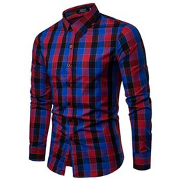 Blue Red Checkered Shirt Australia - Plaid Shirt 2018 New Autumn Winter Red Checkered Shirt Men Shirts Long Sleeve Chemise Homme Cotton Male Check Shirts blue