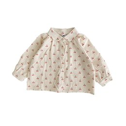 $enCountryForm.capitalKeyWord Australia - Stylish INS Little Girls Blouses Shirts Turn-down Collar Cotton Lovely Children Cherry Printing Front Buttons Princess Girls Shirts Tops