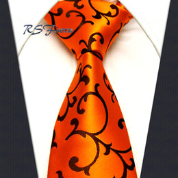 Chinese  Wholesale Classic Mens Tie Free Shipping Orange Floral 100% Silk New Jacquard Woven Necktie Wedding manufacturers