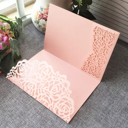 Hollow Laser Cut Nice Flowers Wedding Invitation Card With Pearl Paper For Wedding Invitation Cards Birthday Party Thanks Card on Sale