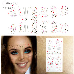 Discount tattoo back neck cat - FT1805 Gold and Silver Irregular Spot Glitter Freckles Cat Face Makeup Tattoo Sticker for Body Makeup inpsired