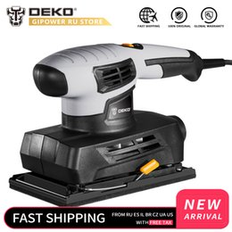 power sheets UK - DEKO QD6520B 230V Sheet Sander with 15pcs Sandpaper and Dust Exhaust 160W Electric Sander Home DIY Power Tool for Woodworking