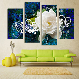 Flower Canvas Prints NZ - Abstract Canvas Art Poster Style Wall 4 Panel Bright-Colored Flower Picture For Living Room Cuadros Decor HD Printed Painting