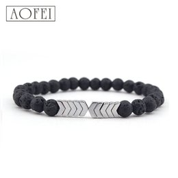 Bohemian Products Wholesale NZ - 2019 New Arrival Amazon Trending Products Natural Volcanic Stone Arrow Diffuser Bead Bracelet For Men And Women
