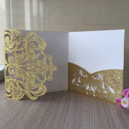 PurPle wedding invitations design online shopping - 20PCS Hollow Laser Cut Glitter Paper Luxury High end Wedding Invitation Cards Exquisite Design Apply To Festival Blessing Cards