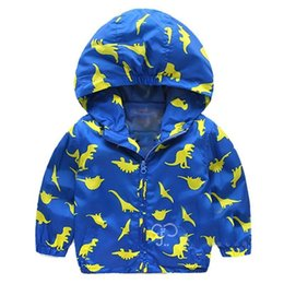 Boys Dinosaur Jacket Australia - Boys jacket spring autumn new Baby Boy Casual cute cartoon dinosaur hooded jacket kids clothes