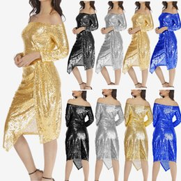 $enCountryForm.capitalKeyWord NZ - 2019 European fashion explosion models solid color package hip open a word collar sequin dress skirt dinner dress, support mixed batch