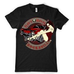 Hot Guitar Neck Australia - hot rod rockabilly pin up sexy guitar vintage retro dtg mens t shirt tees summer o neck tee, free shipping cheap tee,2019 hot tees