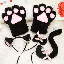 White Tail Cosplay Australia - Kitten Cat Maid Cosplay Roleplay Anime Costume Gloves Ear Tail Tie Party Whole Set