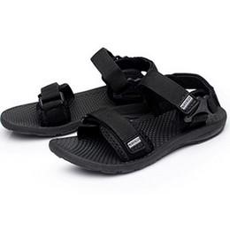 Discount summer sandals new design - Plus Size 38-45 Men's Beach Flat Sandals New Design Fashion Hook & Loop Summer Footwear Black High Quality Men Casu