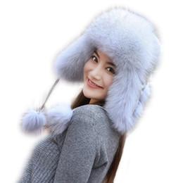 $enCountryForm.capitalKeyWord Australia - Lovely Women Real Fox Fur Princess Cap With Balls Natural Raccoon fur Bomber Hat Winter Warm Waterproof Cloth Top