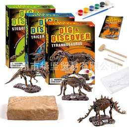 dinosaur toy sound UK - Toy Children Handmade DIY Archeology Dig Toy Dinosaur Fossil Model Dig Assembled Coloured Drawing Set
