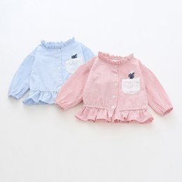 Korean Baby Flowers NZ - Toddler Baby Girls Shirt Autumn Spring Cotton Long Sleeve Striped Flower Tops Kids Shirt Children Outfits Korean Baby Clothes