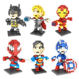 $enCountryForm.capitalKeyWord NZ - super heroes figures Batman Captain America Spiderman Particle Building Blocks Mini Bricks Assembly Model 6 styles Educational Toys for kids