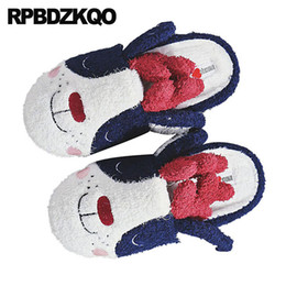 korean cute slippers UK - winter funny bedroom casual indoor animal most popular products women slippers plush cute slides faux fur shoes korean cartoon
