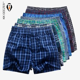 $enCountryForm.capitalKeyWord Australia - 7 Pcs   Lot Men Plaid Underpants Boxers 100% Cotton Striped Shorts Underwear Sleep Bottoms Loose Comfortable Home Week PantiesMX190904