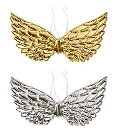 halloween costume wings UK - Angel Fairy Wings Dress Up Wing Halloween Wedding Birthday Party Costume Accessories Background Decor Gold Silver event favos