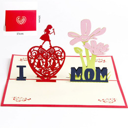 Pop Up Festival Card NZ - Love MoM Gifts Thank you Greeting Cards with Envelope Festival Flowers Laser Cut Hollow Handmade 3D pop up Mothers Day Postcards