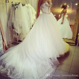 Bling tulle flowers online shopping - Bling Crystal Wedding Dresses Sweetheart Neckline For Women Bride Corset Back Chapel Train Designer Cheap Bridal Dress