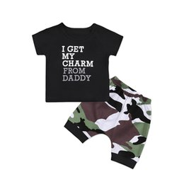 $enCountryForm.capitalKeyWord UK - New Casual Toddler Kids Baby Boy Clothes Set Short Sleeve O-Neck T Shirt Top + Camo Pants Shorts Clothes 2pcs Outfits