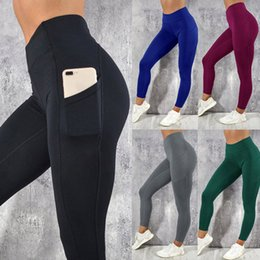 Black Workout Leggings Wholesale Australia - Women's Solid Workout Leggings Fitness Sports Gym Running Yoga Athletic Pants High Waist Sport Leggings Women Black #LRSS