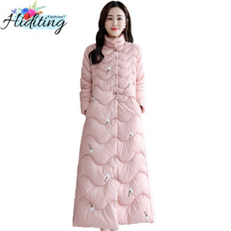 ff8c3f302 Parkas Winter Women Cotton Jacket 2019 New Chinese Style Retro Embroidery Long  Coat Loose National Style Down Cotton Coats WIN40