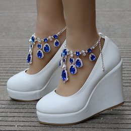 $enCountryForm.capitalKeyWord Australia - Crystal Queen Ankle Strap High Wedges Platform Pumps Large Size Bridal Shoes Women Crystal Rhinestone Platform Shoes Mary Jane