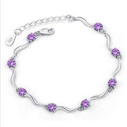 Gold Silver Bracelets For Womens Australia - MISANANRYNE 1pc Elegant Womens Silver-color Bracelet Charm Heart Round CZ Crystal Chain Bracelets For Women Wedding Gift