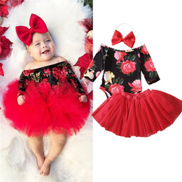 body tutu Australia - New Born Baby Girl Party Clothing Sets 1st Birthday Outfits Baby Body as Gift Bodysuit+Tutu Skirt+Headband 3pcs Clothes Set