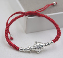 men luck bracelet 2019 - Sterling Silver S925 Bracelet Luck Fish Red Rope Knitted Weaving Color for Women Men Fashion 6.3inchL Luck Pig Year 2019