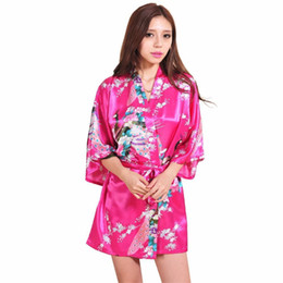 $enCountryForm.capitalKeyWord UK - Wholesale- Pop Pink Chinese Female Silk Rayon Robe Gown Sexy Mini Kimono Yukata Printed Nightgown Flower&peacock S M L Xl Xxl Xxxl Rb1021