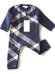 $enCountryForm.capitalKeyWord Australia - Retail Baby Plaid knitted sweater Romper With cap Cotton Rompers Newborn baby bodysuit Children one-piece jersey Jumpsuits climbing clothes
