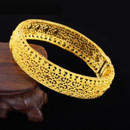 $enCountryForm.capitalKeyWord Australia - Newest Jewelry Hollow 18k Yellow Gold Filled Bangle Dubai Bracelet for Wedding Party Thick Openable Gift