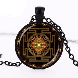 $enCountryForm.capitalKeyWord Australia - Trendy Steampunk Sri yantra mandala Glass Dome Pendant Necklace DIY Handmade Fashion Buddhist Sacred Geometry Jewelry Charm