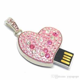 Necklaces Pendants Australia - Fashion metal crystal heart pendant necklace usb 2.0 flash drive U73 4GB-126GB USB FLASH