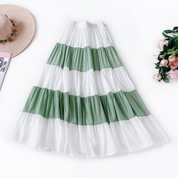 large tutus Australia - 2019 Ruffled Large Swing Tutu High Waist Striped Skirt Literary Temperament Casual Skirt Summer Casual Striped A-Line Mid-Calf