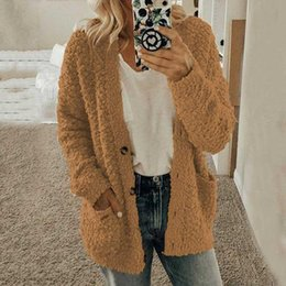 furs wholesale UK - 2019 Autumn Teddy Bear Coat Women Winter Faux Fur Coat Ladies Button Plush Warm Winter Jacket Overcoat Outwear Female
