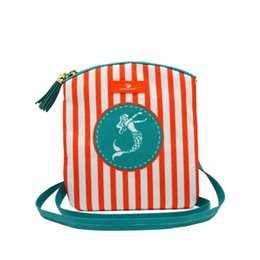 Cell phone purse pattern online shopping - Custom beach stripe Sling Bag anchor mermaid patterns women s cell phone purse hippocampus crossbody bag with tassel