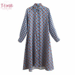 vintage button down shirts women Canada - 2020 Women Summer Vintage Print Dress Long Sleeve Turn Down Collar Buttons Vintage Dresses Female Elegant Straight Shirts Dress Vestidos