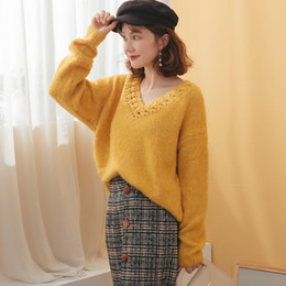 Korean style sweater online shopping - 2019 Autumn and winter new v neck handmade Korean stick sweater dropped shoulder sleeve lazy style sweater women F2915