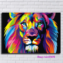 Painting Faces Australia - Animals Colourful Lion Face,1 Pieces Canvas Prints Wall Art Oil Painting Home Decor (Unframed Framed) 24x36.