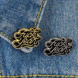 "$enCountryForm.capitalKeyWord Australia - Brand ""FUCK YEAH"" black gold letter word creative brooch ornament special personality badge lapel cartoon pins"