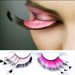 Cheap Cotton Stalks Australia - Happy Wearing Big Colorful Cheap Feather Eyelashes For Halloween Costume False Eyelashes Makeup Eye Lashes Extension