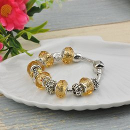 Clear Bead Chain Australia - 2019 Golden Crystal Beads Charm Bracelets Bangles Fit Pandora Silver Plated Chain Women Fashion Brand Clear Gold Gemstone Alloy Jewelry P44