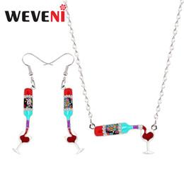$enCountryForm.capitalKeyWord NZ - wholesale Original Enamel Alloy Red Wine Bottle Cup Heart Earrings Drop Dangle Necklace Pendant Jewelry Sets Vintage Birthday Gift