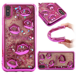 Lip mouth online shopping - Electroplate lips Dynamic Liquid Quicksand Phone Cases For iPhone Plus Sexy Mouth Soft TPU Case for iPhone X XR XS Max Samsung S9 Plus