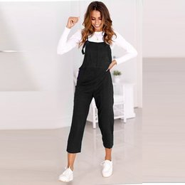 ankle length jumpsuit NZ - Bib Overalls For Women Rompers Backless Jumpsuit Strap Slim Trousers Playsuit Summer Casual Ankle-length Pants Jumpsuit Y19071701